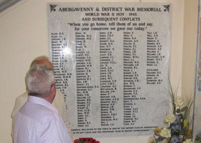 Abergavenny, War, Memorial, plaque, stonemasonry, hand painted