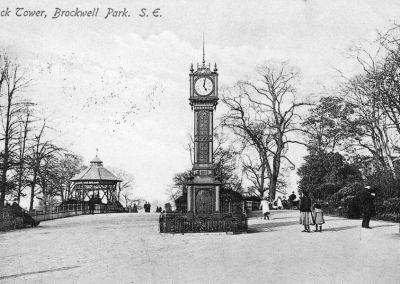 Brockwell Park Clock Tower, Green, painted, restored