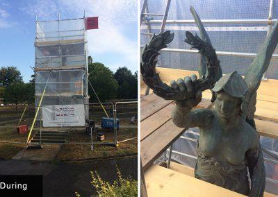 Windmill Gardens War Memorial, brass, cleaning, restoration, conservation